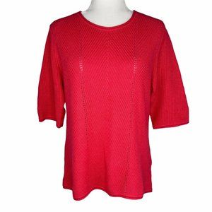 Norm Thompson Salmon Pink Sweater Scoop Neck 3/4